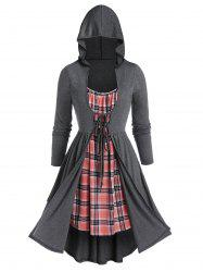 Plus Size Plaid Hooded 2 In 1 Tie Overlap Dress -