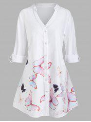 Plus Size Butterfly Print Roll Up Sleeve High Low Shirt -