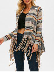 Draped Front Fringed Striped Cardigan -