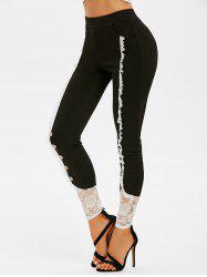 Mock Button Flower Lace Inert Skinny Pants -