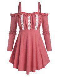 Plus Size Ruffle Lace Panel Cold Shoulder Tee -