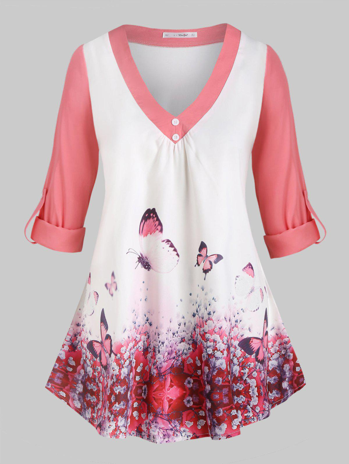 Cheap Plus Size Butterfly Print Roll Up Sleeve Top
