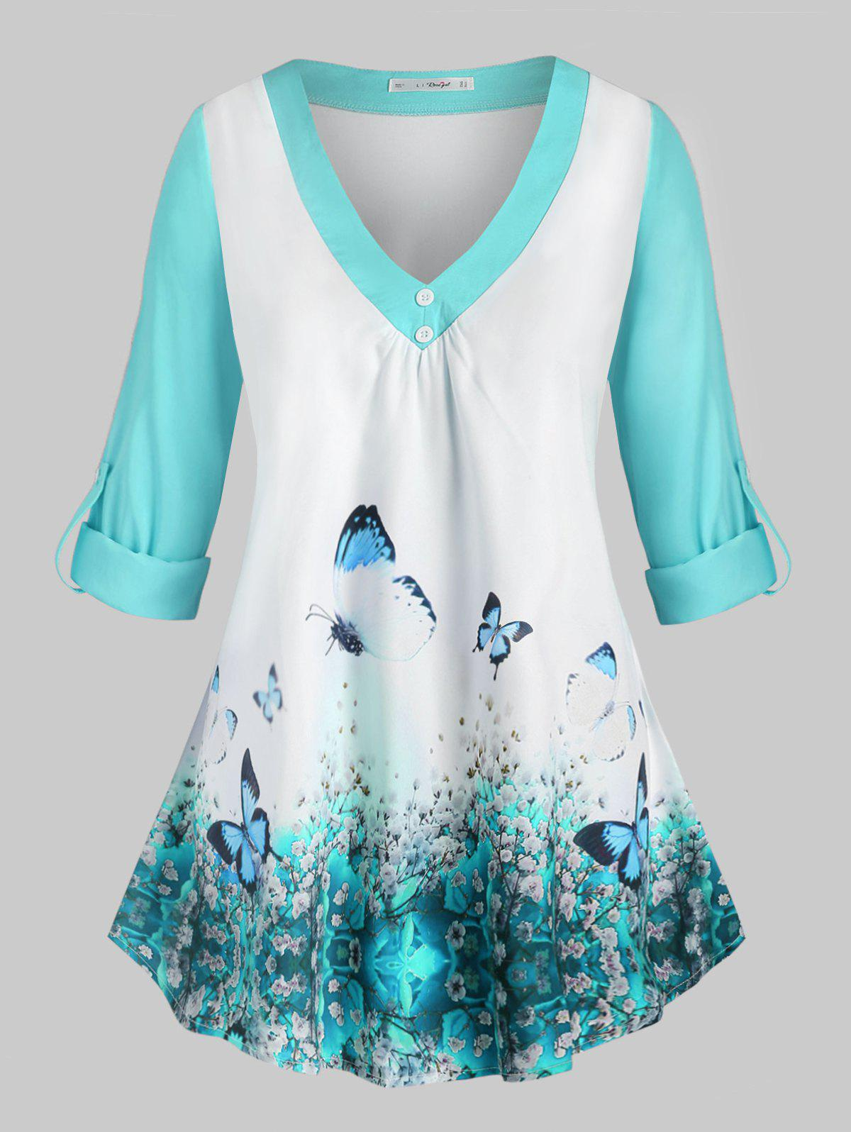Shops Plus Size Butterfly Print Roll Up Sleeve Top