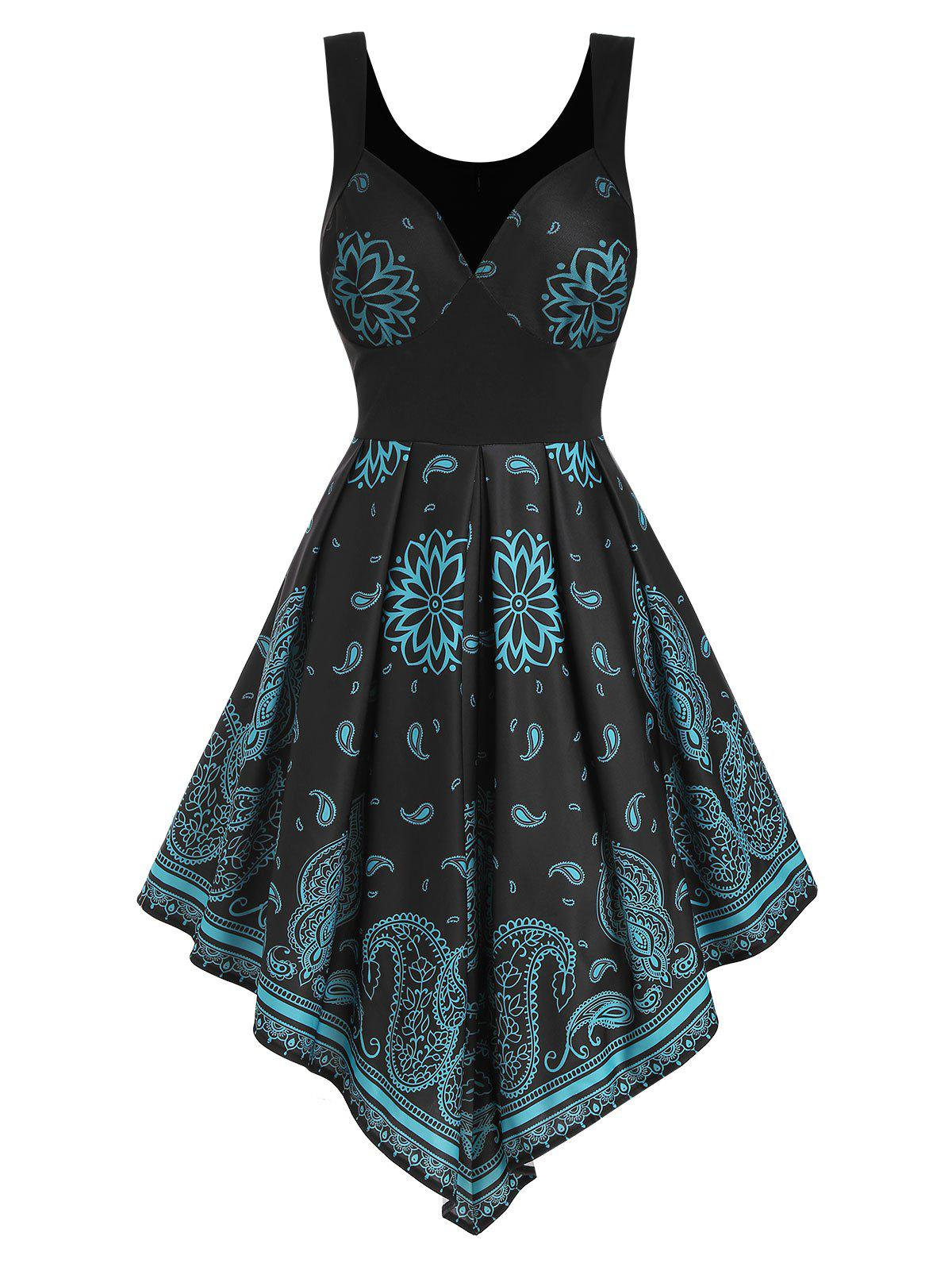 Discount Flower Paisley Lace Panel Pointed Hem Dress