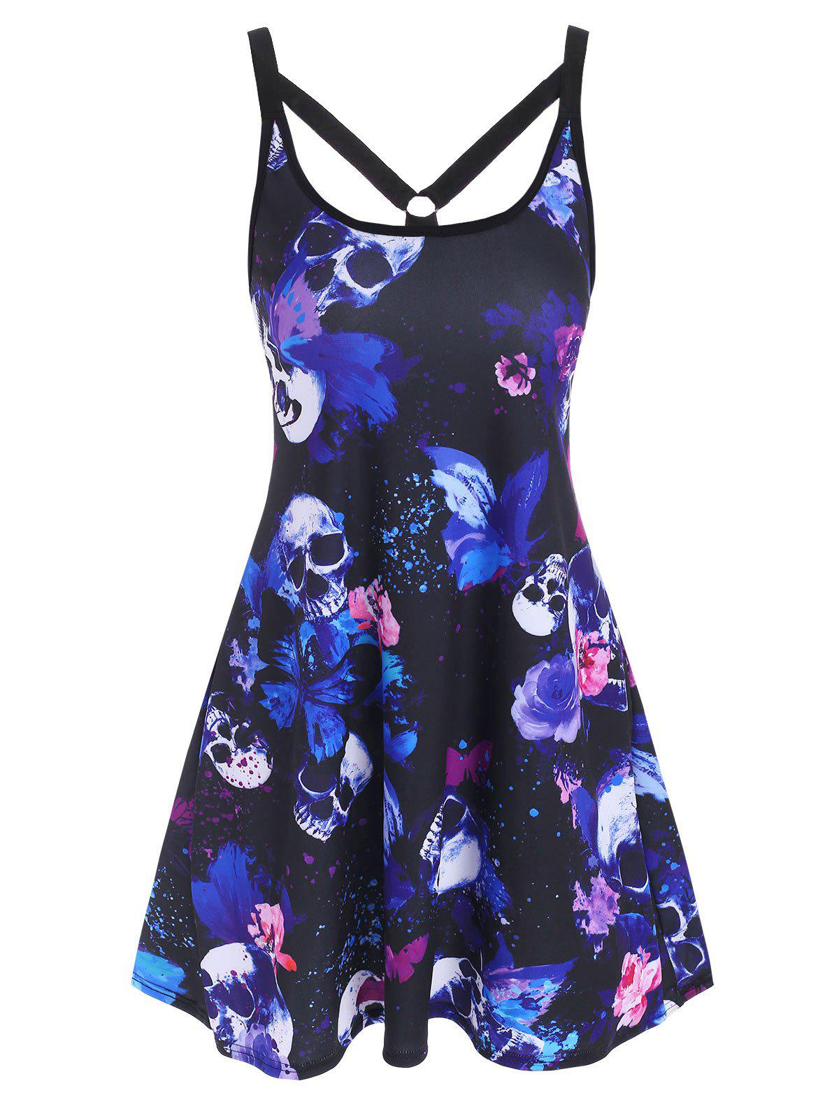 Online O Ring Strappy Skull Butterfly Print Tank Dress