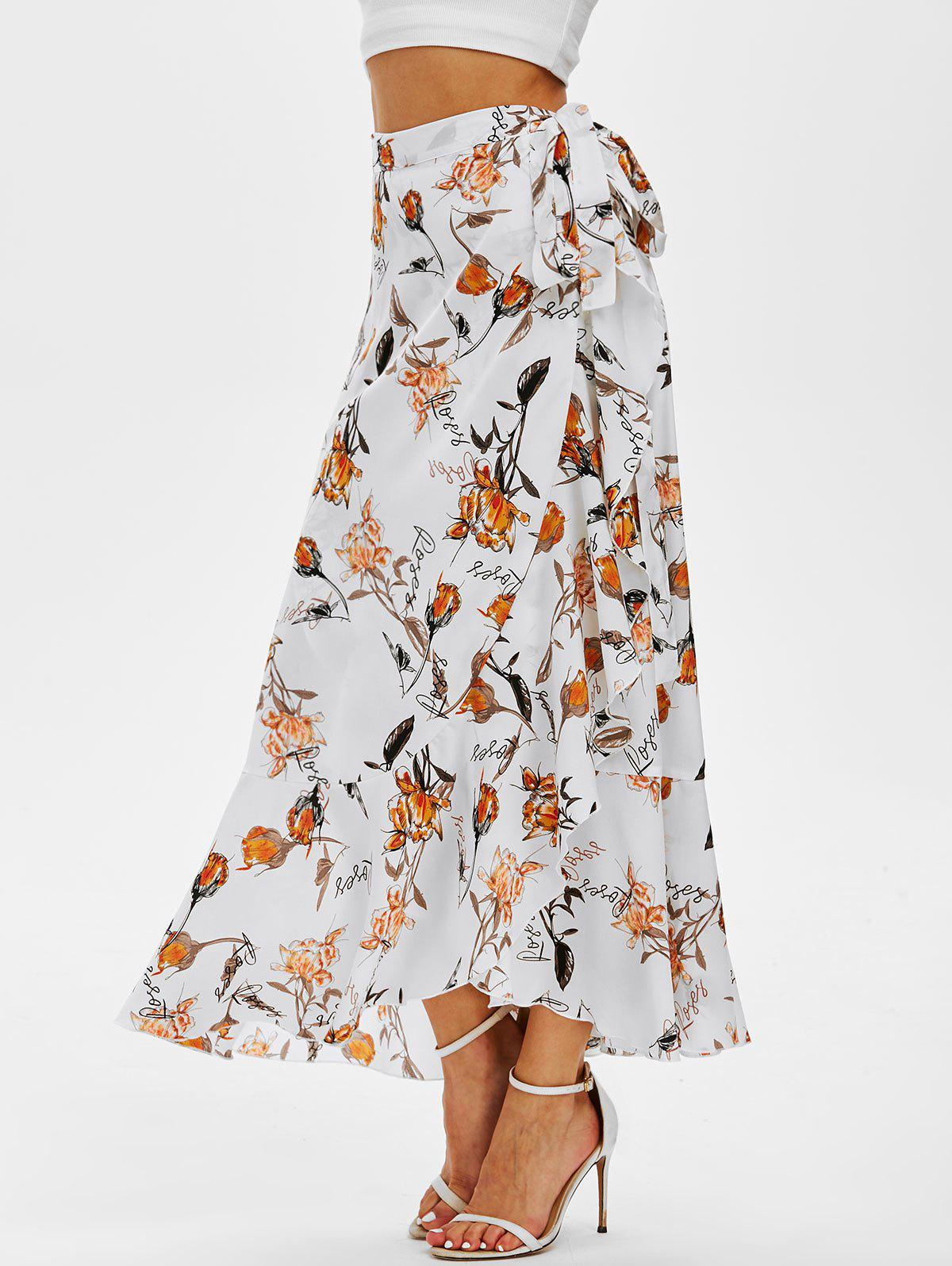 Outfits Flower Print Flounced Wrap Maxi Skirt