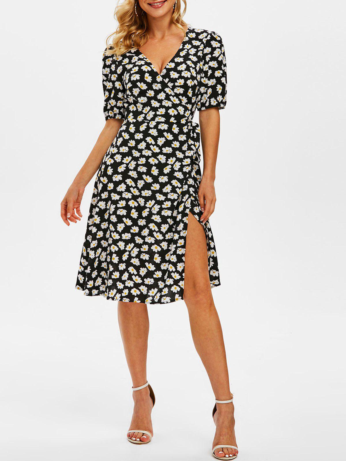 Outfit Print Daisy Flower Wrap Puff Sleeve Dress