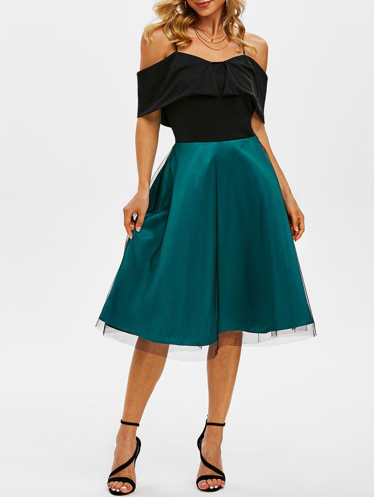 Trendy Lace Overlay Cami Cold Shoulder Colorblock Dress