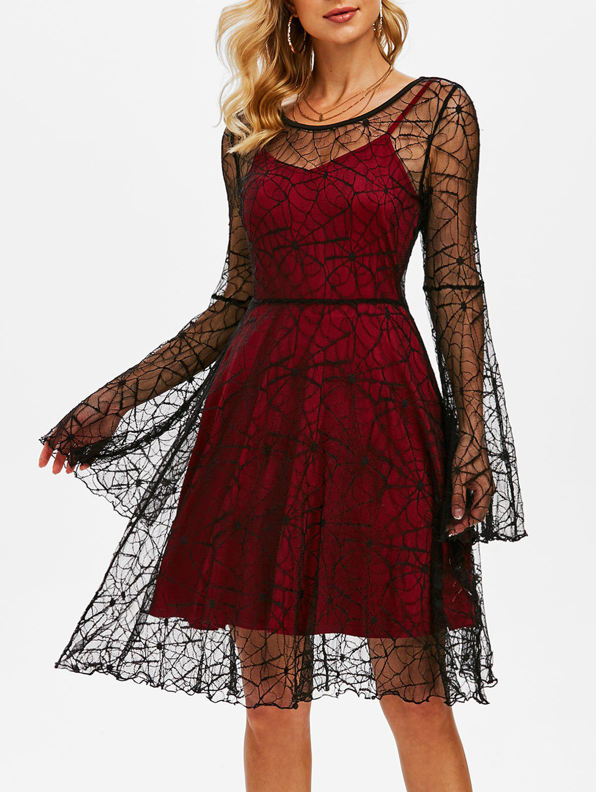 Chic Halloween Spider Web Lace Dress with Plain Cami Dress
