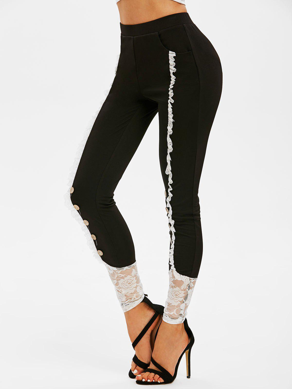 Chic Mock Button Flower Lace Inert Skinny Pants