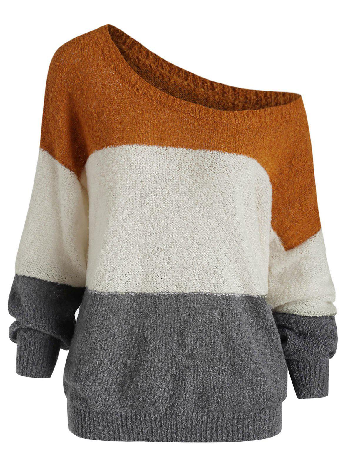 Shops Drop Shoulder Three Tone Jumper Sweater