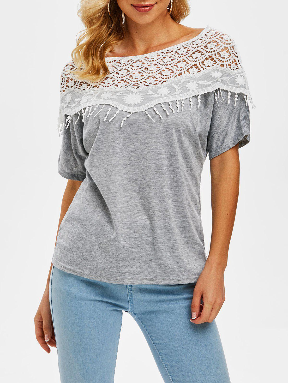 Outfit Heathered Crochet Lace Panel Boat Neck Tee