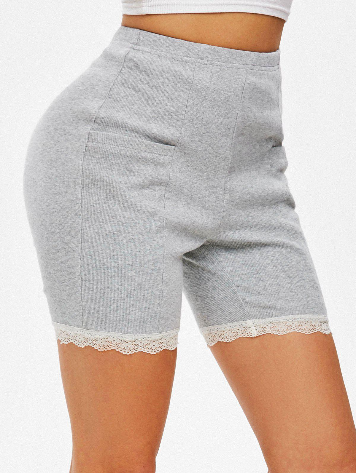 Best High Waisted Lace Trim Mini Shorts