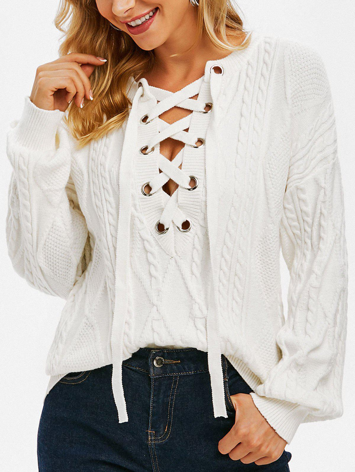 Latest Drop Shoulder Cable Knit Lace Up Sweater