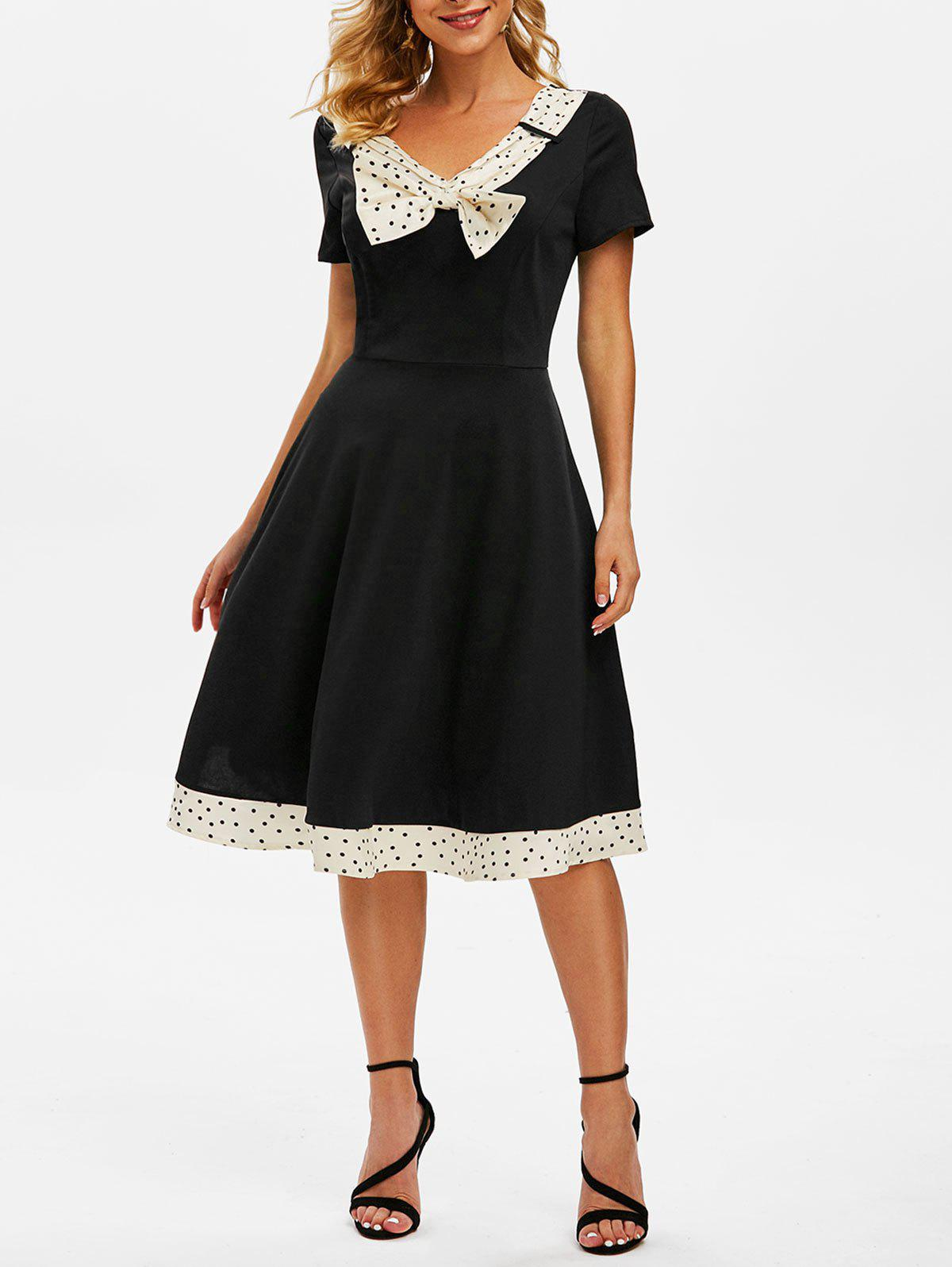 Sale Polka Dot Bowknot V Neck Vintage Dress