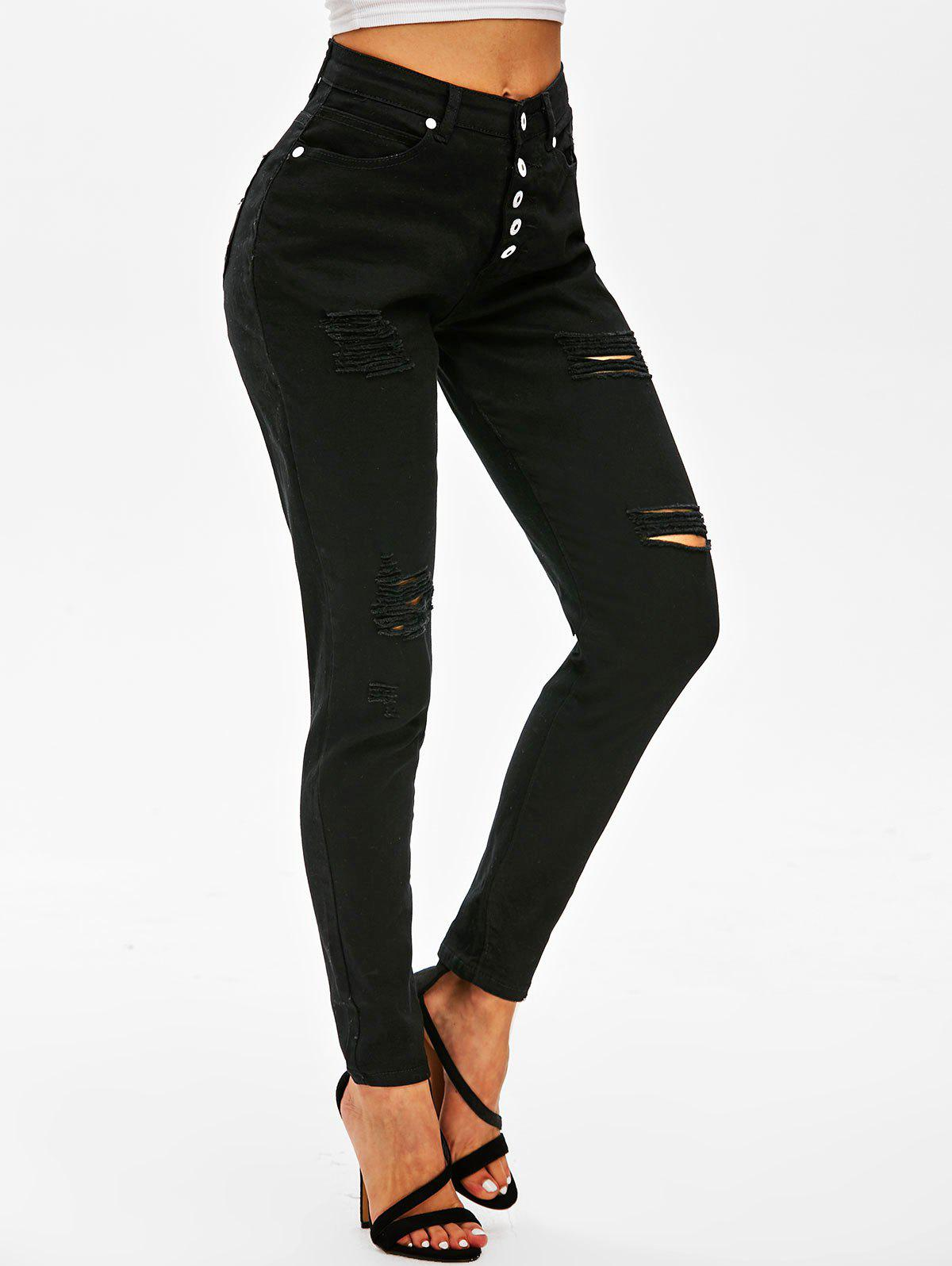Outfit Ripped Button Fly Skinny Jeans