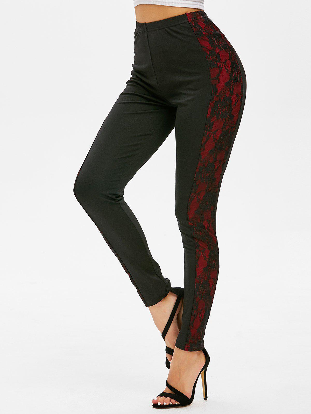 Cheap Side Lace Panel High Waisted Leggings