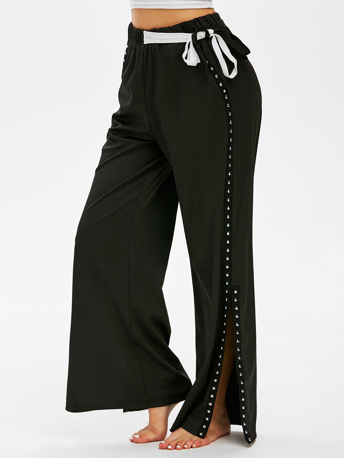 Cheap Waist Tie Rivets Side Slit Wide Leg Pants