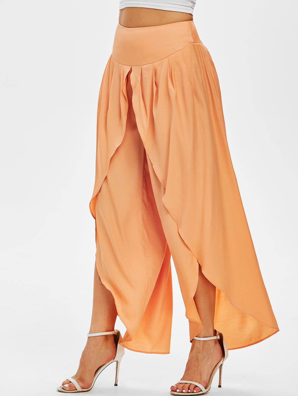 New Knife Pleat Overlap Front Palazzo Pants