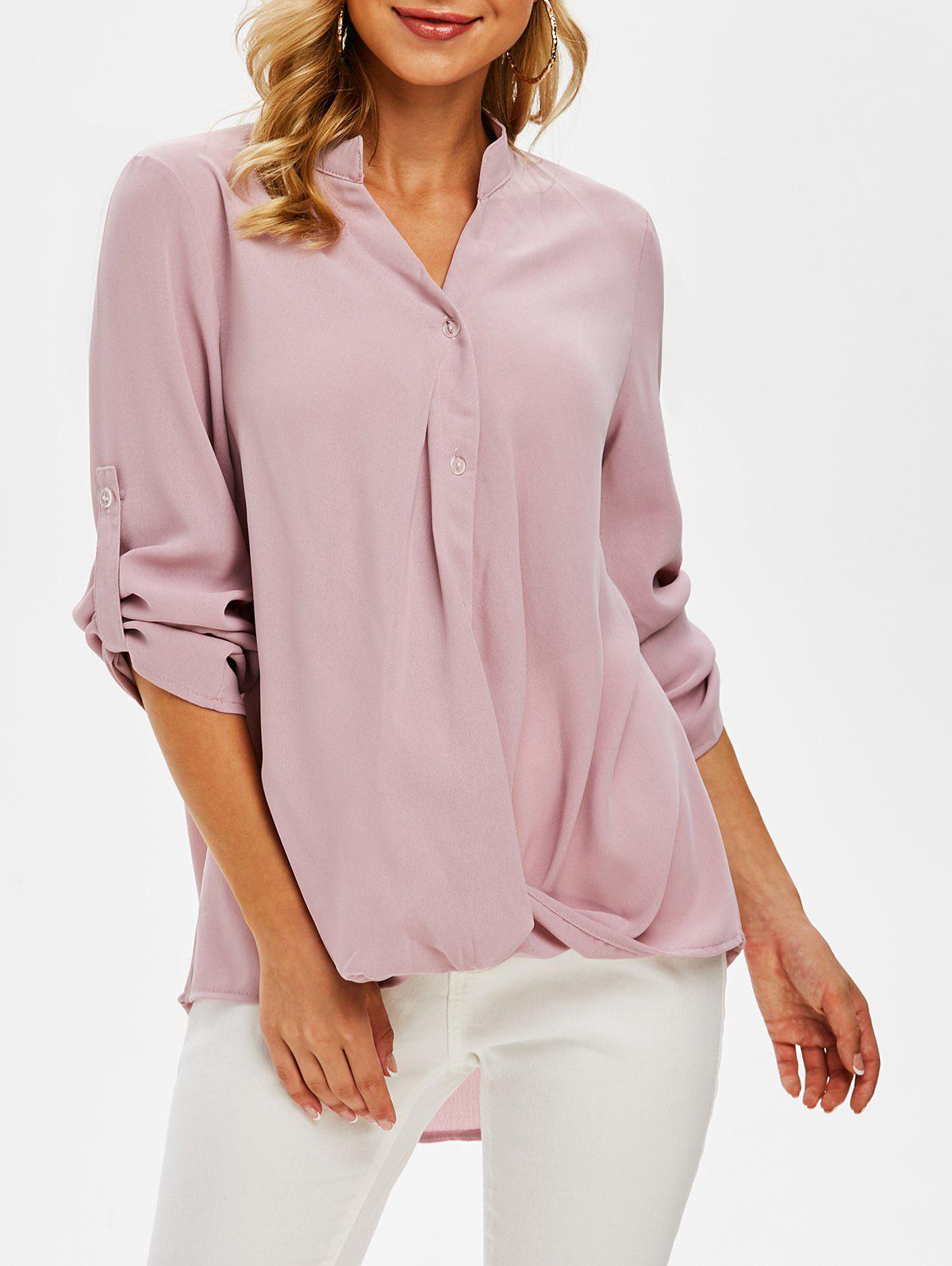 Hot Long Sleeve Twist Front High Low Blouse