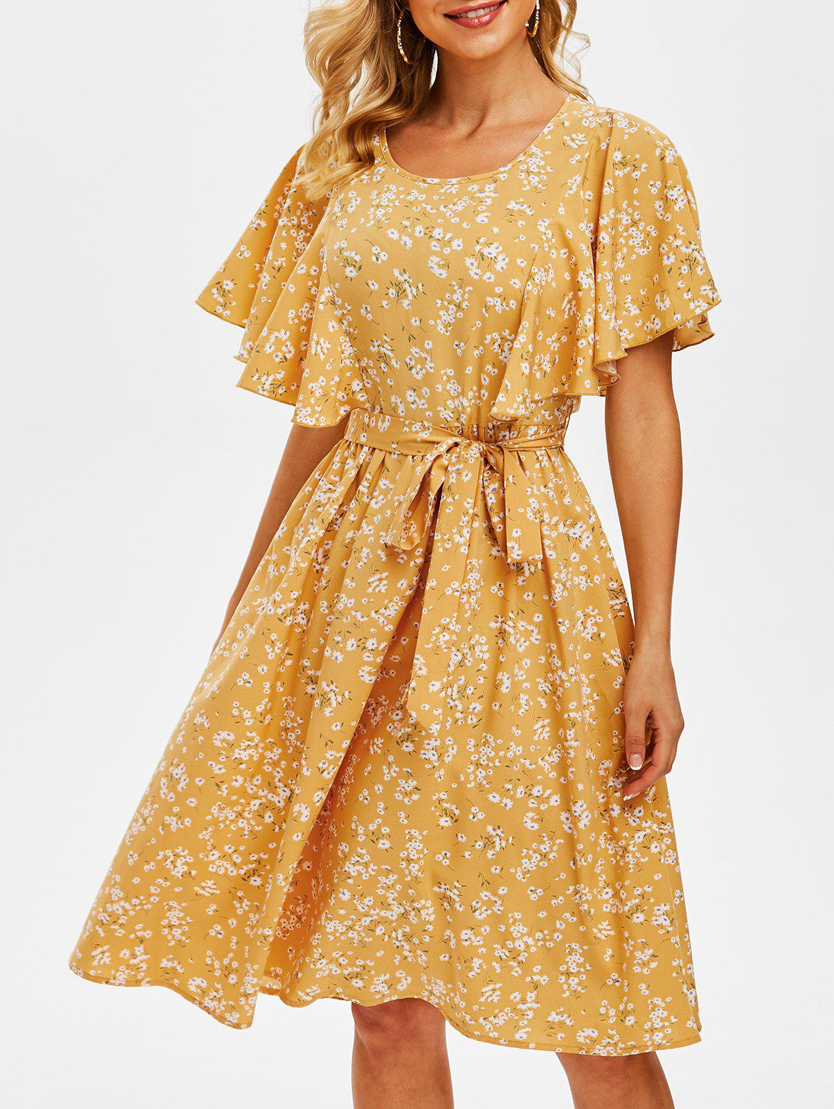 Sale Tiny Floral Print Cut Out Butterfly Sleeve Dress