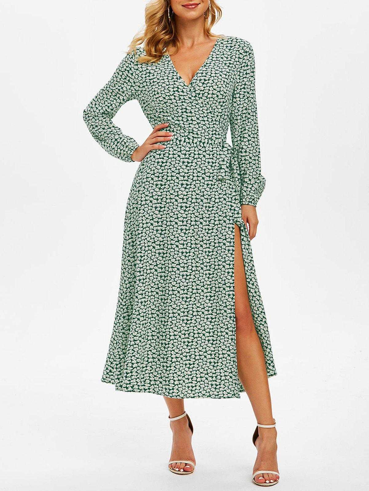 Outfits Floral Print Long Sleeve Belted Surplice Dress