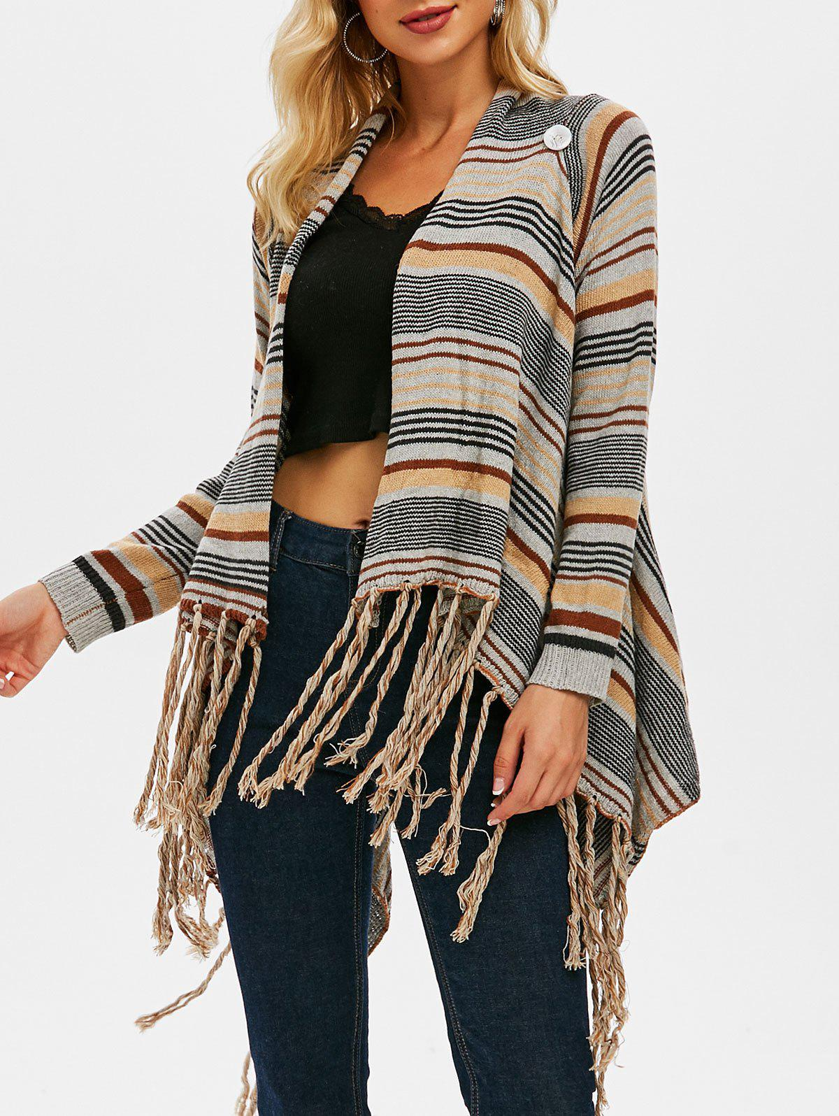Store Draped Front Fringed Striped Cardigan
