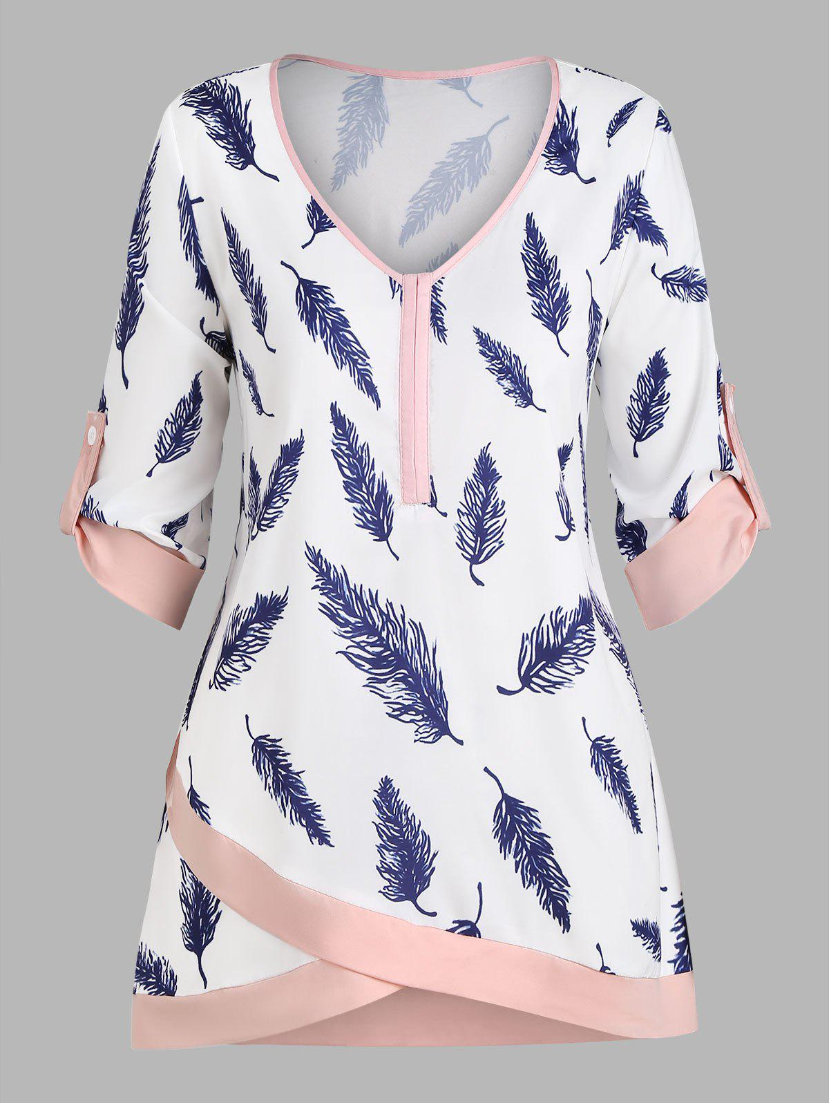 Chic Plus Size Feather Print Roll Up Sleeve Top