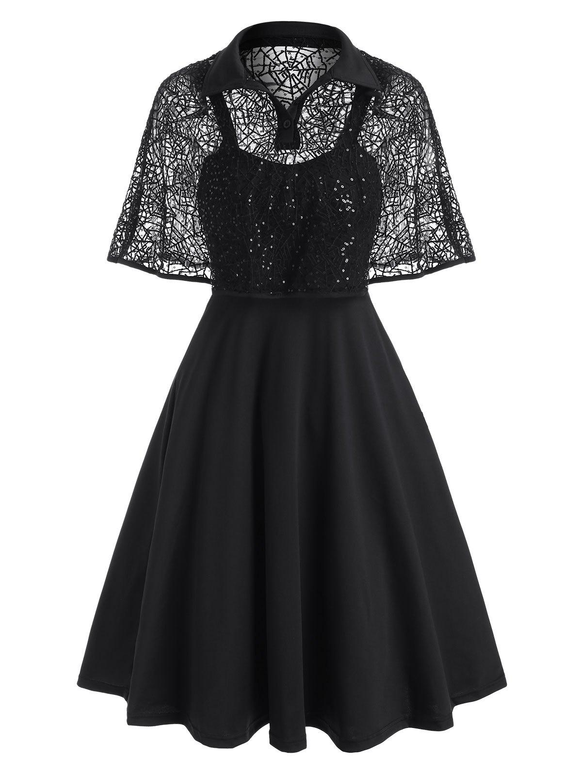 Online Halloween Sequined Lace Spider Web Cape Dress