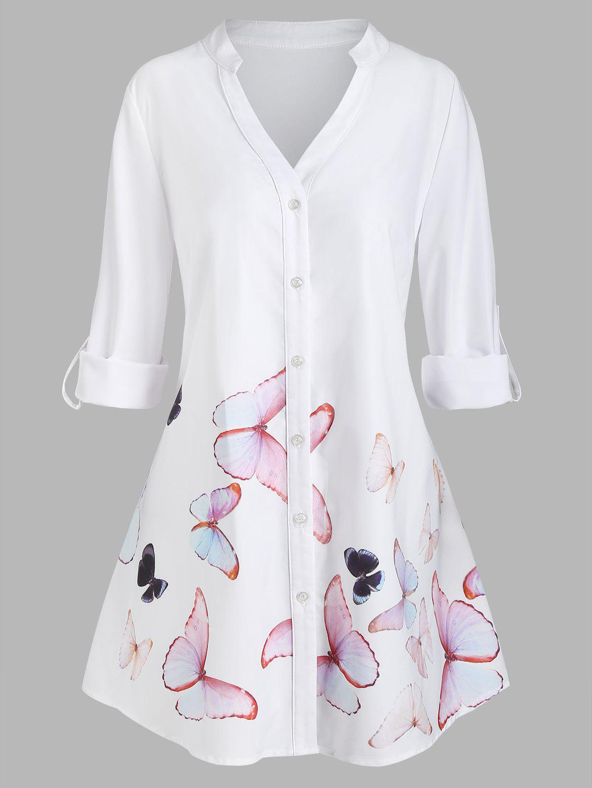Chic Plus Size Butterfly Print Roll Up Sleeve High Low Shirt