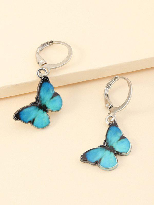Fashion Colored Butterfly Pendant Small Hoop Earrings