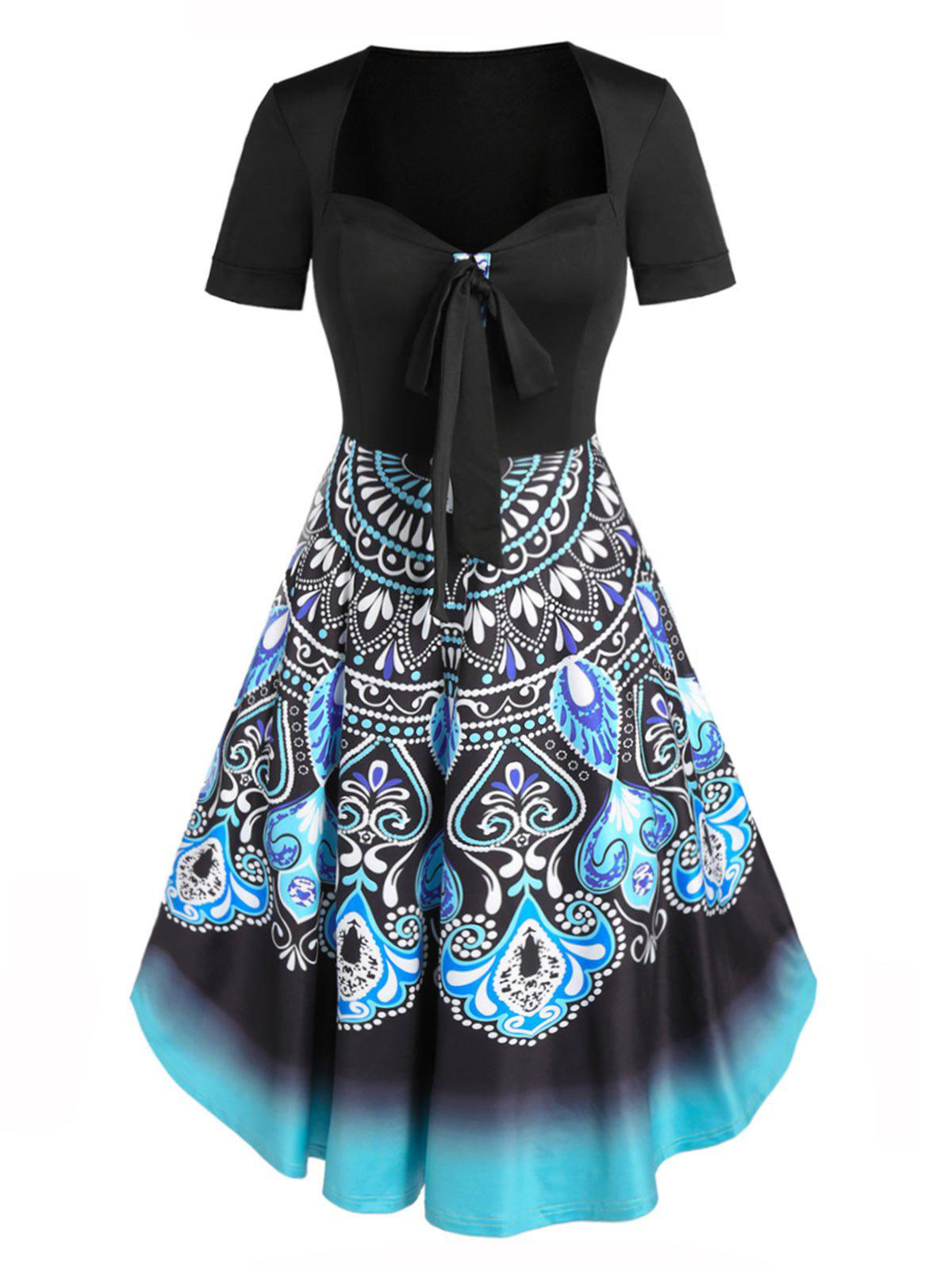 Affordable Bohemian Floral Print Bowknot Fit And Flare Dress
