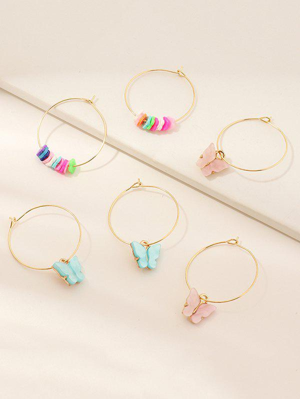 Cheap 3 Pairs Butterfly Floral Pendant Hoop Earrings