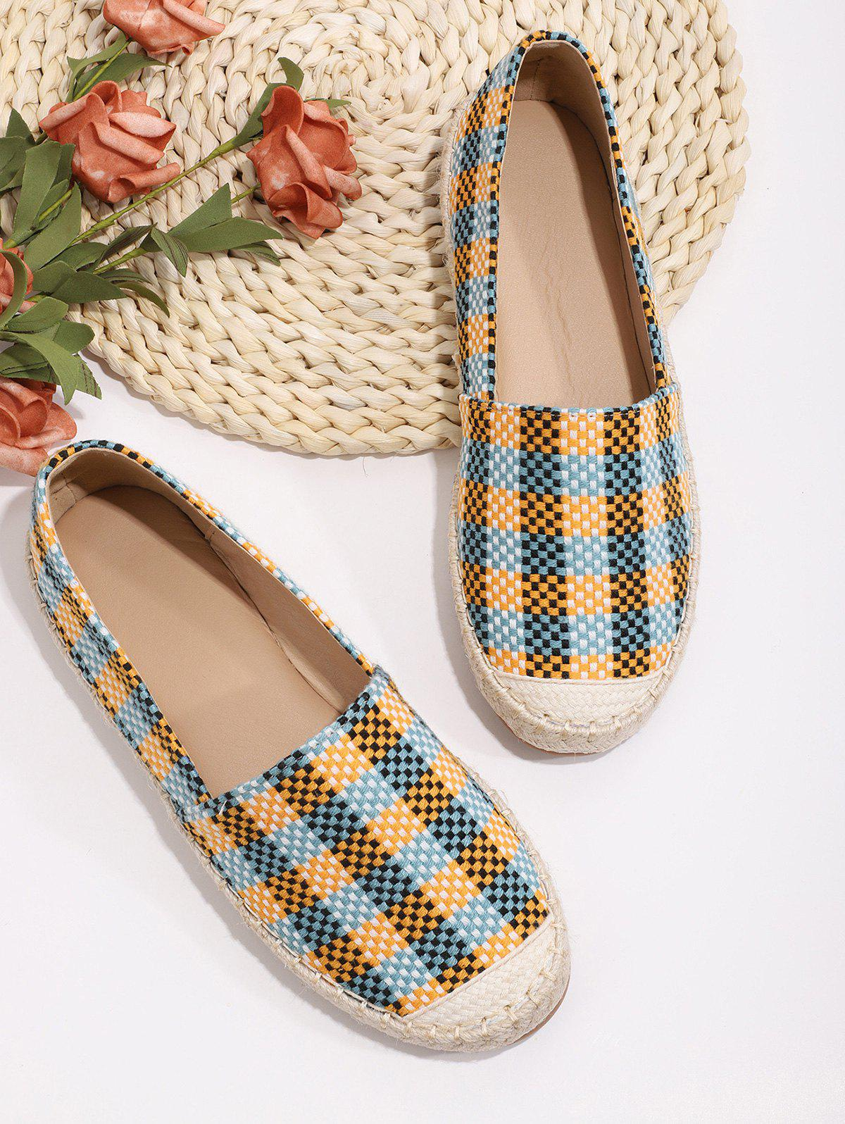 Discount Casual Plaid Pattern Colorblock Flat Shoes