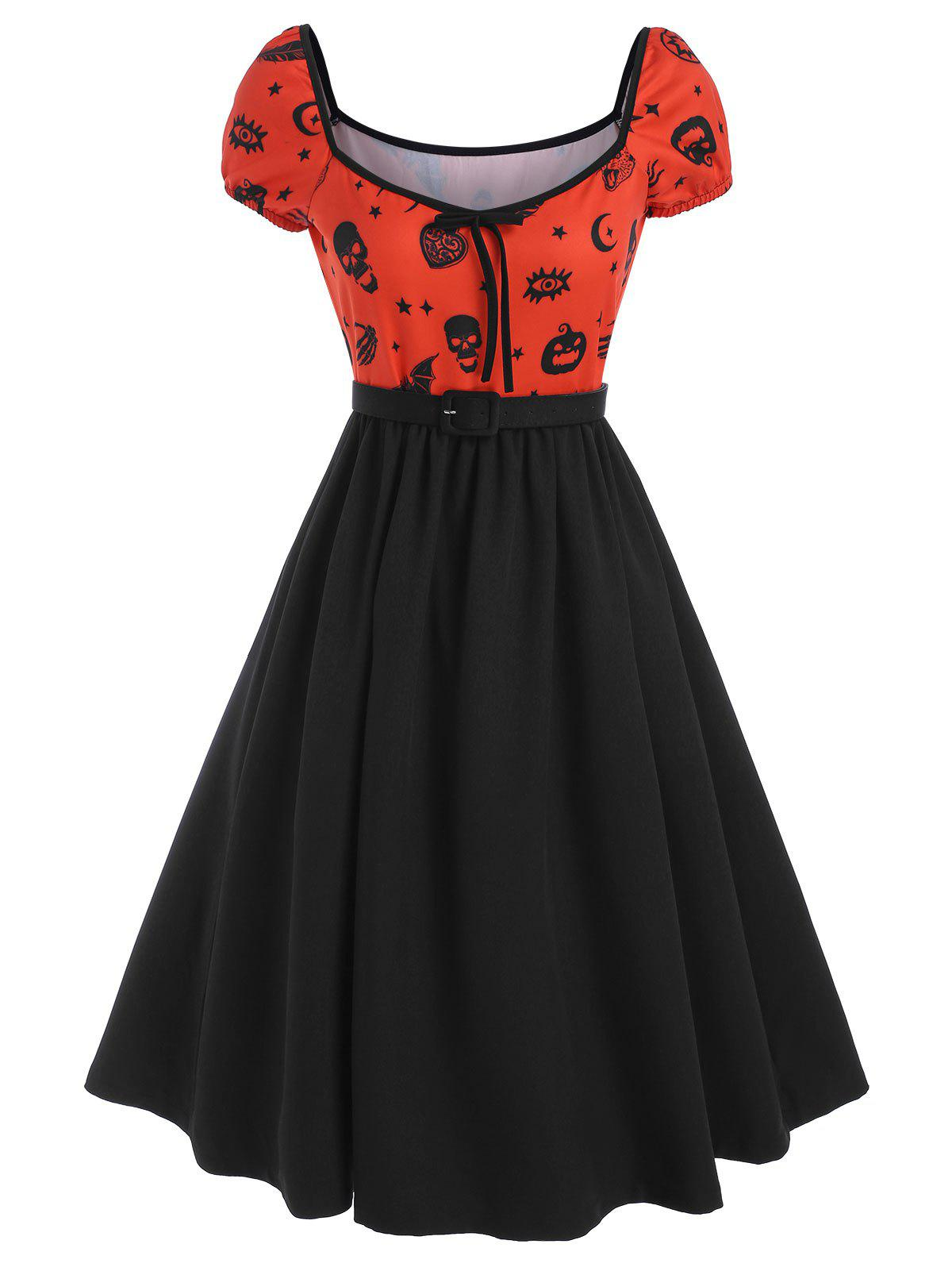 Online Halloween Skull Pumpkin Bowknot Dress