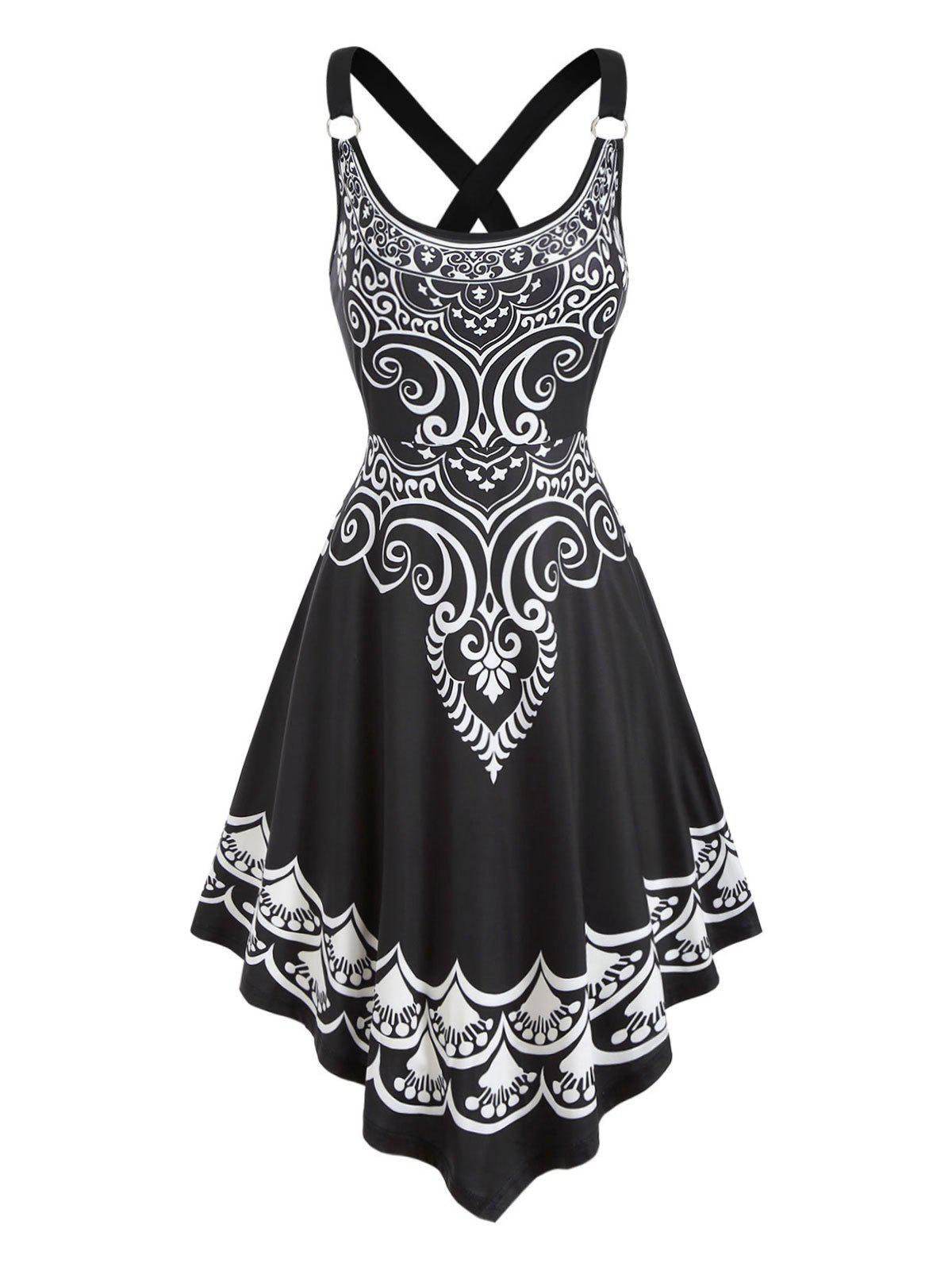 Best O-ring Printed Asymmetrical Cami Dress