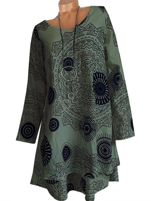 Hot Printed Long Sleeve Trapeze Dress