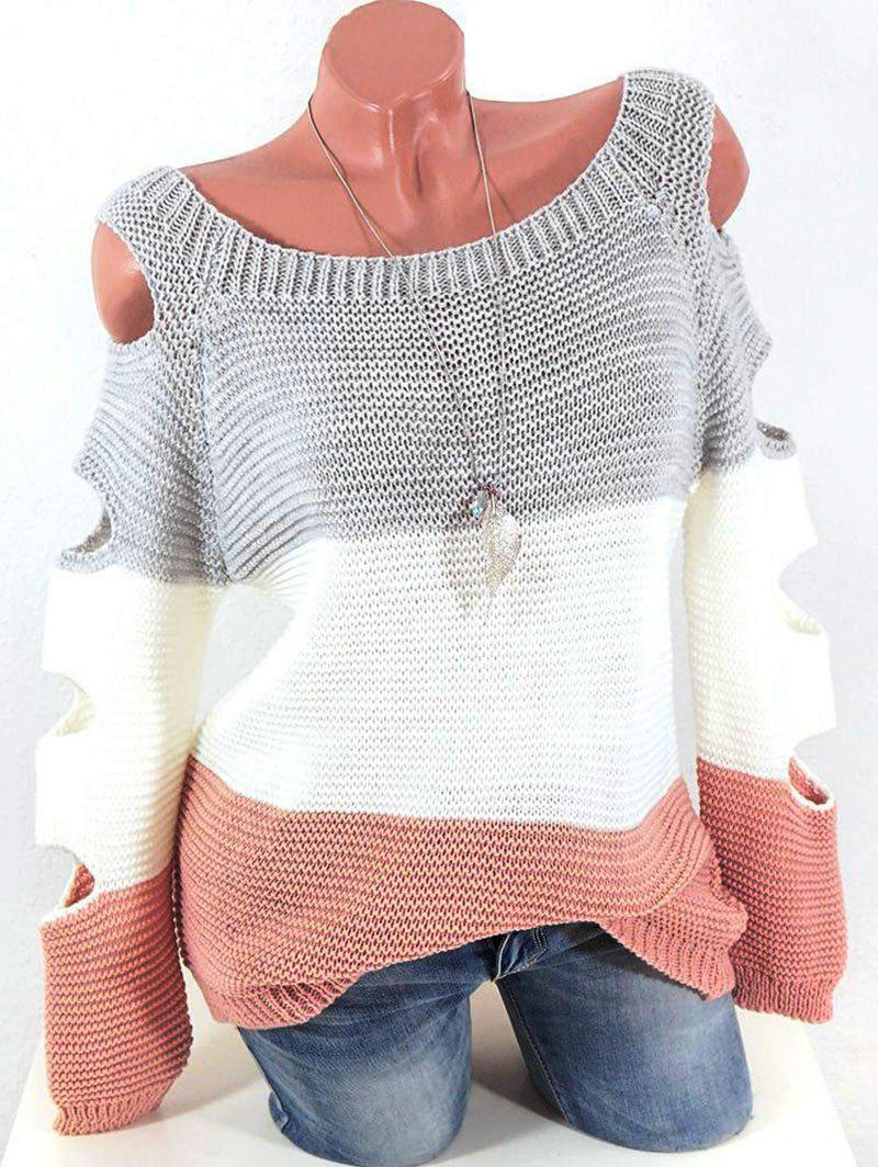 New Cutout Raglan Sleeve Colorblock Jumper Sweater