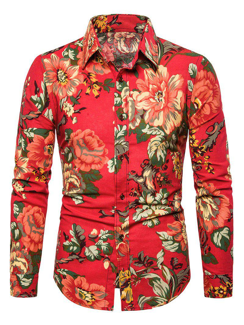 Hot Casual Peony Flower Print Button Up Shirt