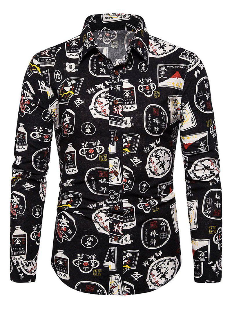 Buy Chinese Characters Pattern Vintage Long Sleeve Shirt