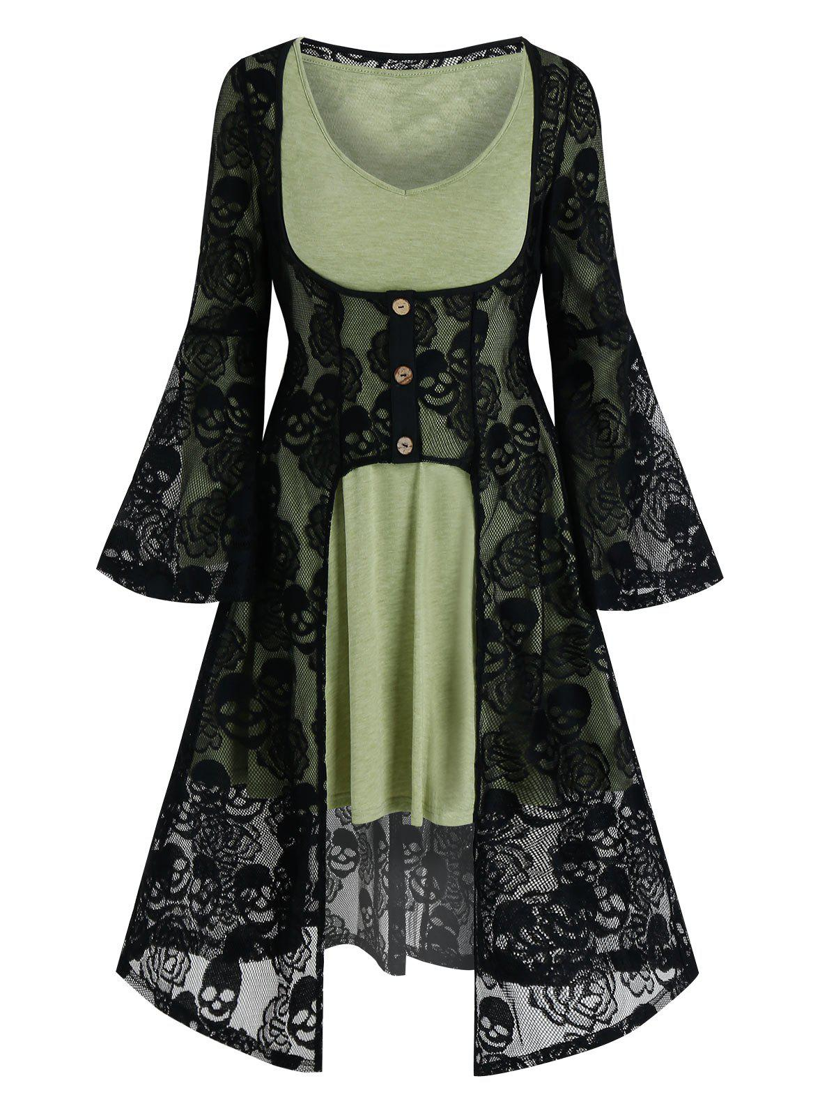 Discount Halloween Skull Lace Cardigan and Long Sleeve Flare Dress