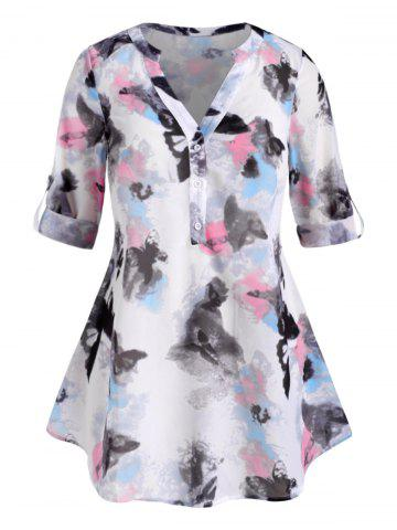 Button Front Abstract Butterfly Print Plus Size Top - WHITE - 4X