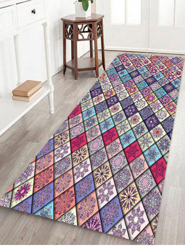 Patchwork Flower Pattern Bath Floor Mat - MULTI - W24 X L71 INCH