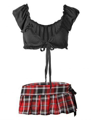 Plus Size Plaid Lace-up Schoolgirl Lingerie Costume