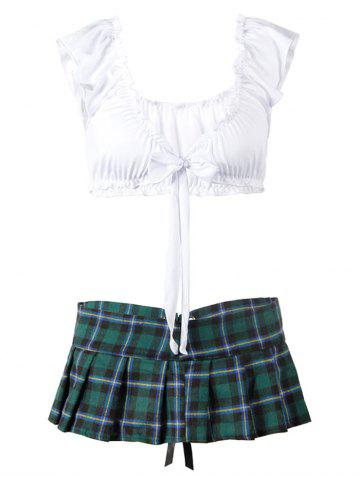 Plus Size Plaid Lace-up Schoolgirl Lingerie Costume - DEEP GREEN - 1XL