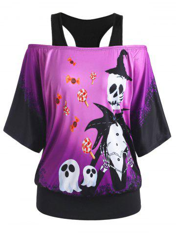 Cold Shoulder Skull Ghost Candy Print Halloween Plus Size Top - PURPLE - 3X