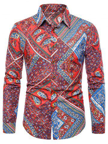 Floral Paisley Print Turn-down Collar Casual Shirt - RED - XS