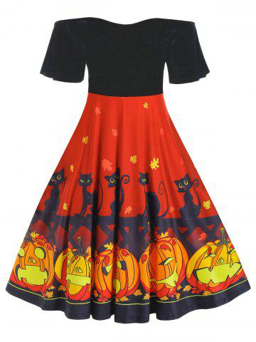 Plus Size Pumpkin Cat Print Velour Flutter Sleeve Dress