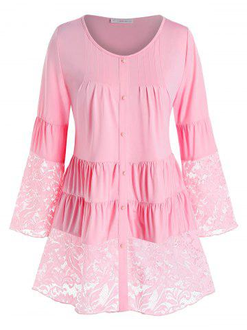 Plus Size Lace Panel Tiered Ruched Flare Sleeve Blouse - LIGHT PINK - 3X