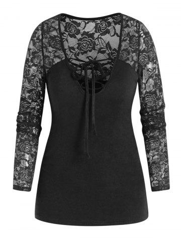 Long Sleeve Flower Lace Insert Lace-up T-shirt